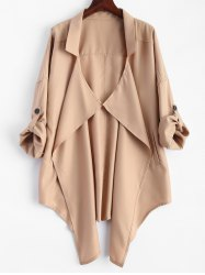 Pointed Hem Plus Size Trench Coat - KHAKI
