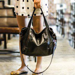 Faux Leather Weave Slouchy Handbag