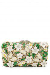 Butterfly Flower Rhinestone Evening Bag - WHITE