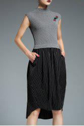 Asymmetric Hem Striped Insert Knitted Dress -