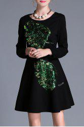 Sequin Long Sleeve A Line Dress