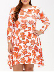Robe de Noël plus-size évasée à empreintes - Orange Rose L