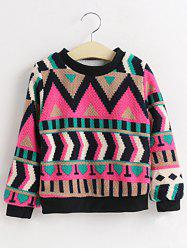 Girls Crew Neck Geometric Pullover Sweater -