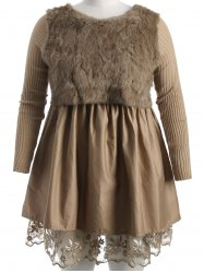 Plus Size Lace Splicing Faux Fur Knitted Dress -