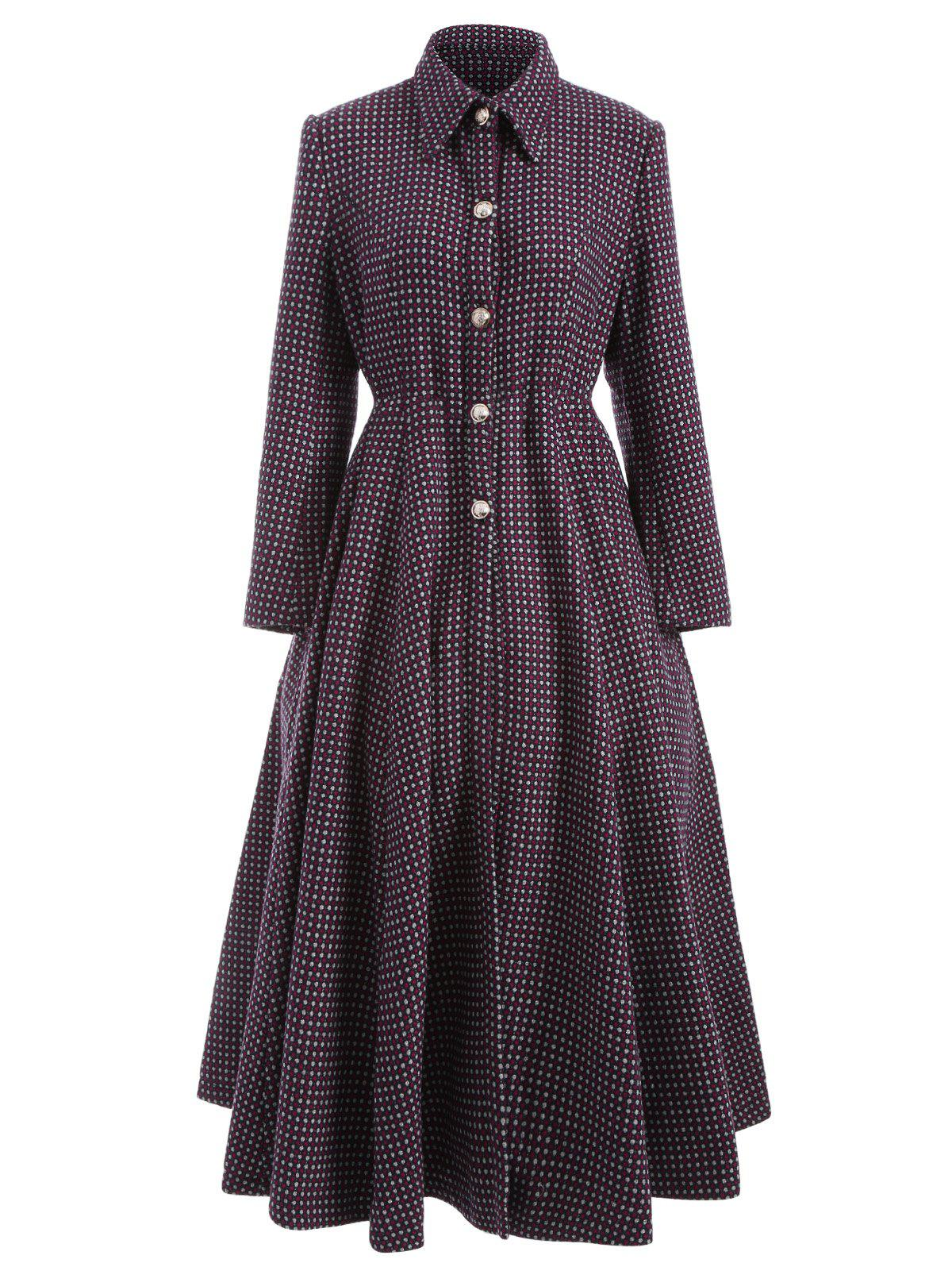 Buy Polka Dot Woolen Skirted A Line Long Maxi Coat