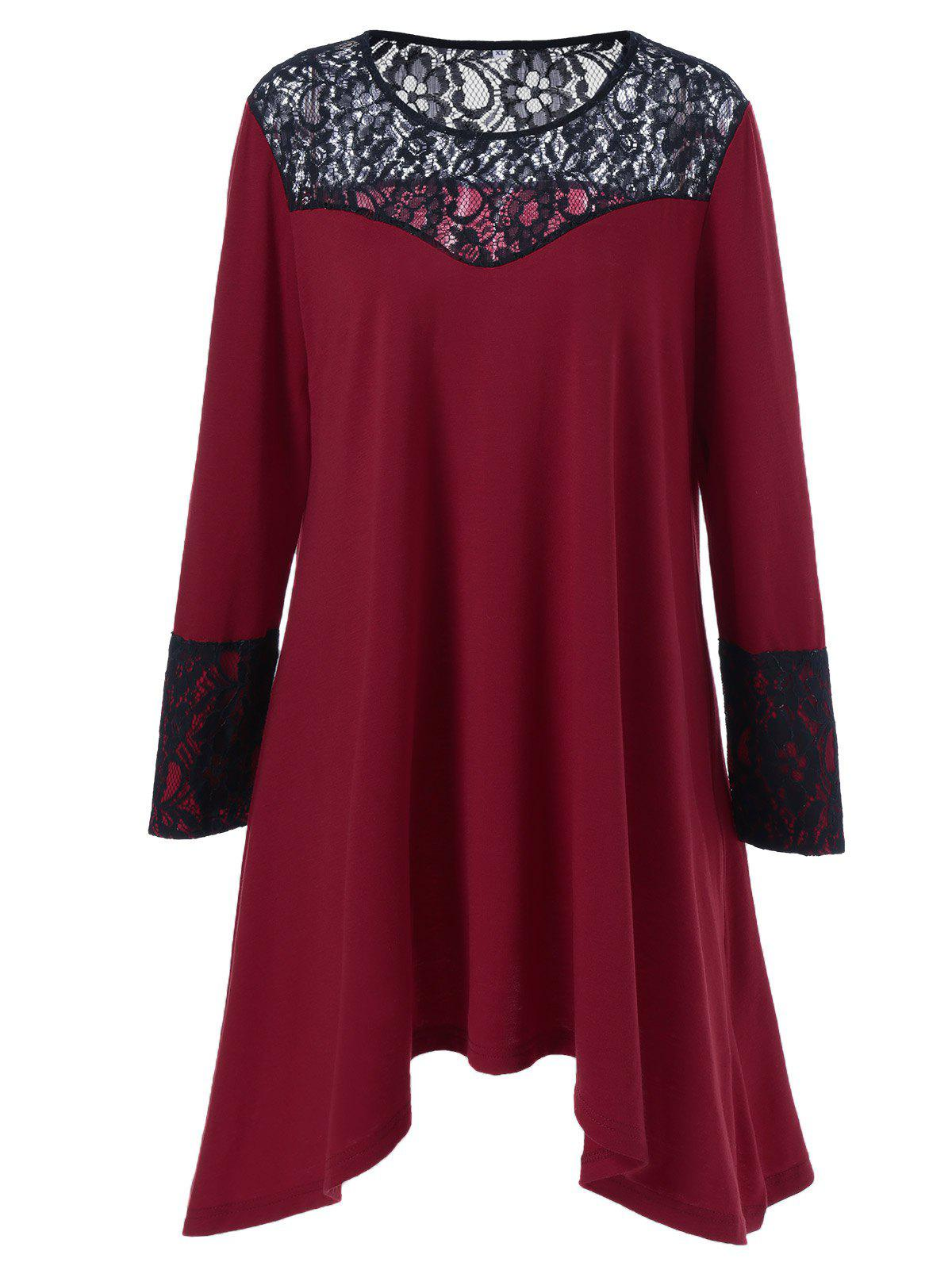 Plus Size Lace Trim Asymmetrical T Shirt DressWOMEN<br><br>Size: 2XL; Color: RED WITH BLACK; Style: Brief; Material: Polyester,Spandex; Silhouette: Asymmetrical; Dresses Length: Mini; Neckline: Round Collar; Sleeve Length: Long Sleeves; Pattern Type: Patchwork; With Belt: No; Season: Fall,Spring; Weight: 0.350kg; Package Contents: 1 x Dress;