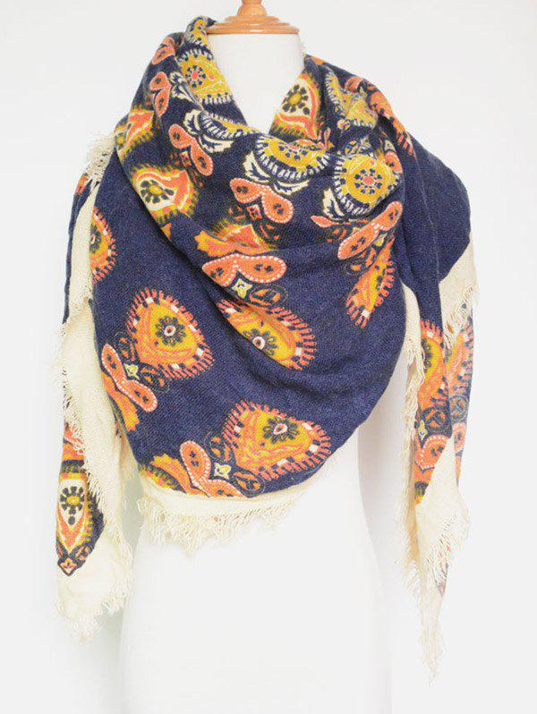 Outfits Vintage Floral Pattern Fringe Edge Square Scarf