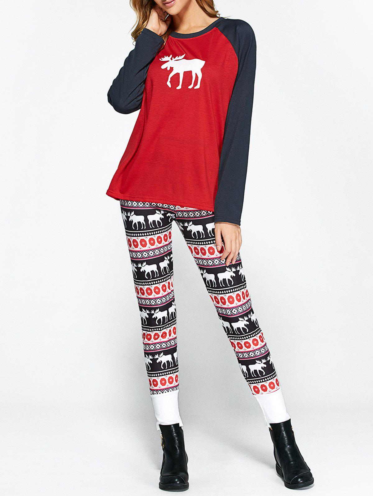 Store Christmas Ornate Print Leggings and Raglan Sleeves Tee