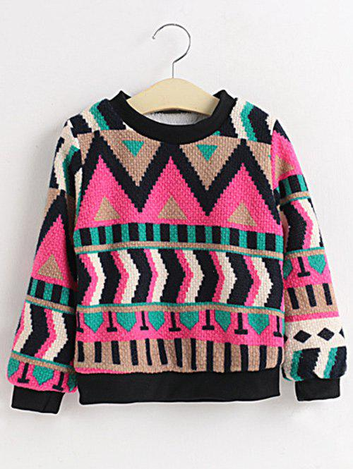 Cheap Girls Crew Neck Geometric Pullover Sweater