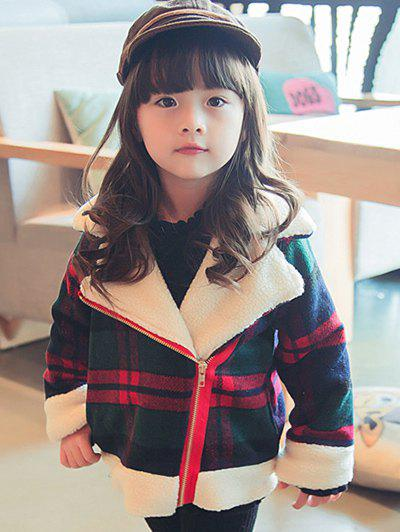 Discount Girls Plaid Inclined Zipper Thick Wool Jacket
