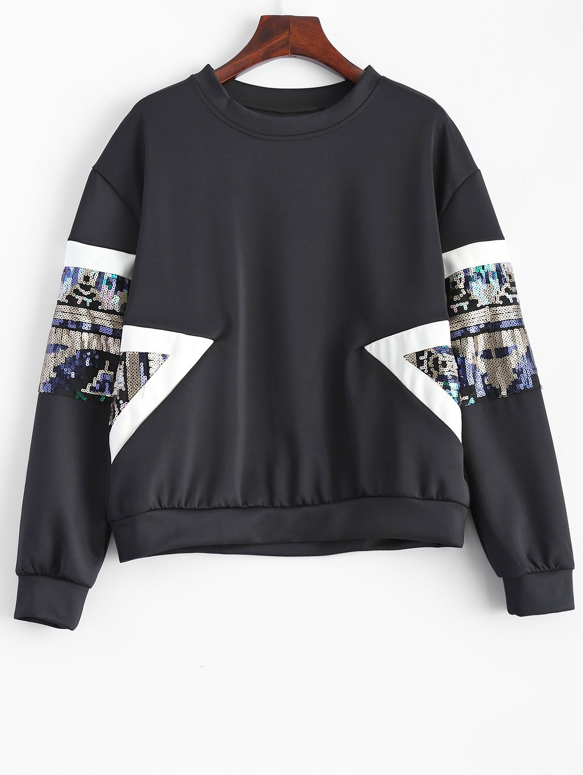 Outfit Sequined Patched Loose Sweatshirt