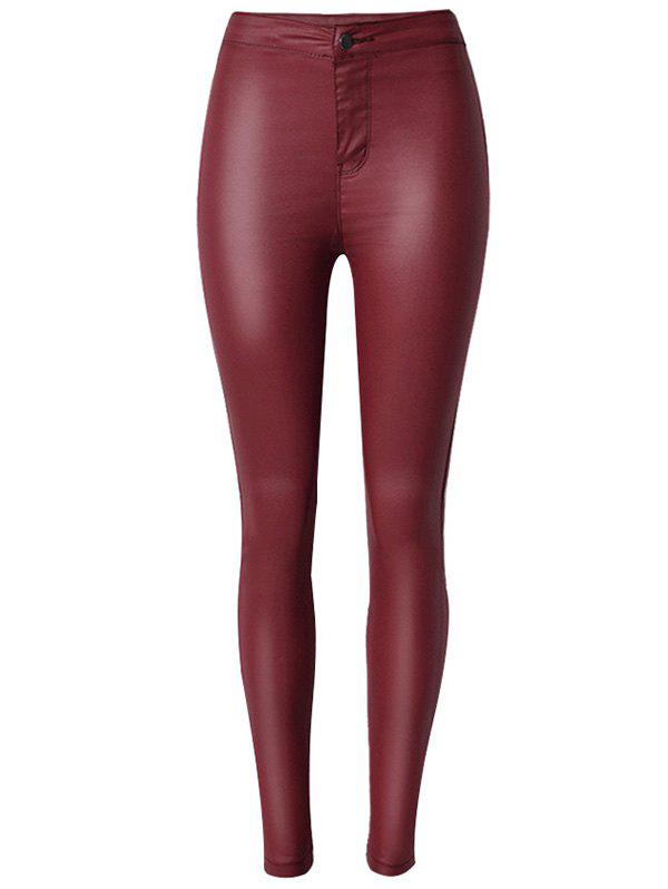 Chic Faux Leather High Waist Skinny Pants