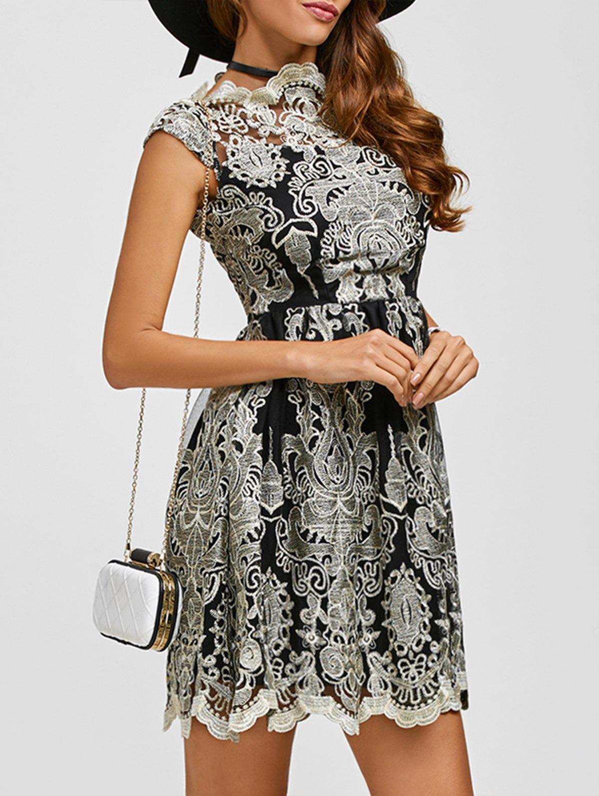 Affordable Arab Totem Embroidery High Waist Lace Skater Dress