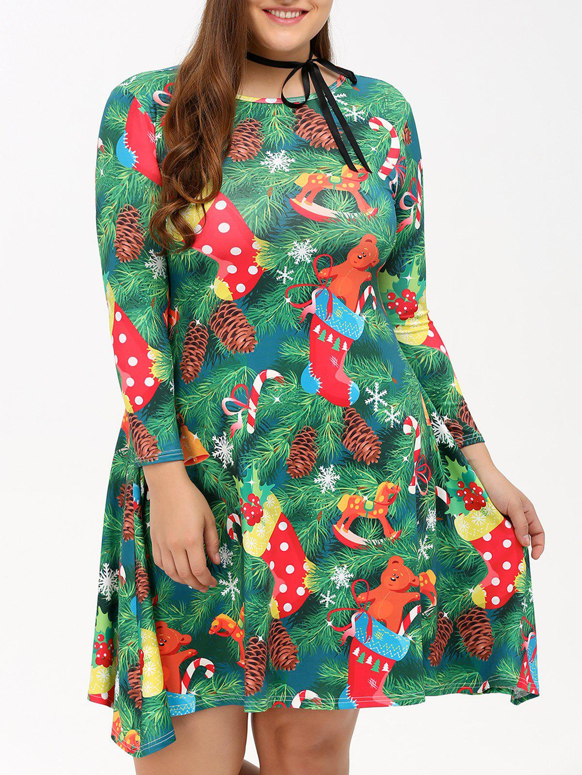 Plus Size Christmas Tree Print Party DressWOMEN<br><br>Size: 2XL; Color: GREEN; Style: Cute; Material: Polyester; Silhouette: A-Line; Dresses Length: Knee-Length; Neckline: Jewel Neck; Sleeve Length: 3/4 Length Sleeves; Pattern Type: Print; With Belt: No; Season: Fall,Spring; Weight: 0.293kg; Package Contents: 1 x Dress;