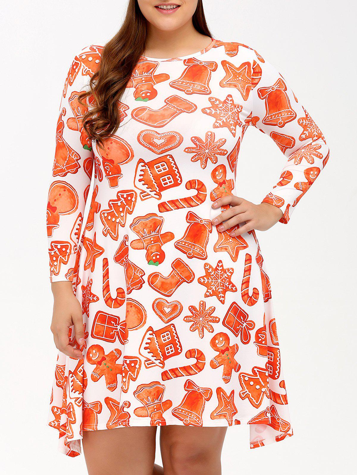 Robe de Noël plus-size évasée à empreintes Orange Rose L