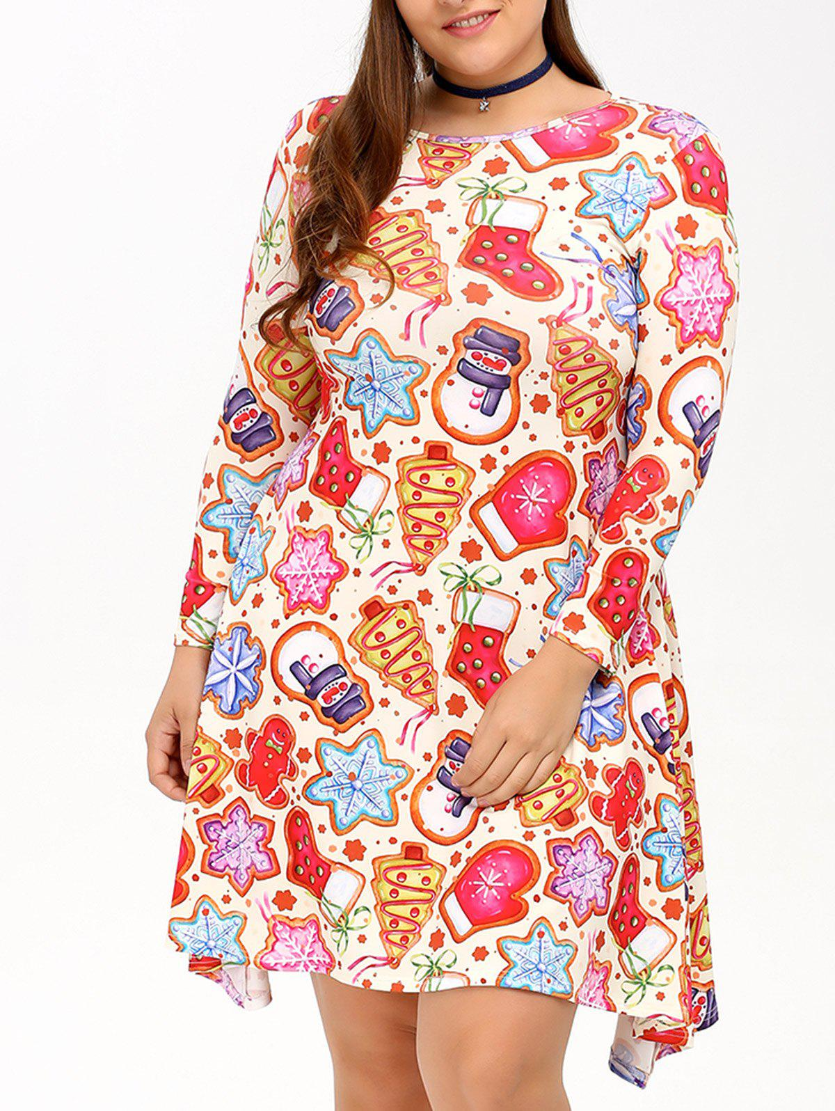 Cookie Print Swing DressWOMEN<br><br>Size: 3XL; Color: COLORMIX; Style: Cute; Material: Polyester; Silhouette: A-Line; Dresses Length: Knee-Length; Neckline: Jewel Neck; Sleeve Length: 3/4 Length Sleeves; Pattern Type: Print; With Belt: No; Season: Fall,Spring; Weight: 0.320kg; Package Contents: 1 x Dress;