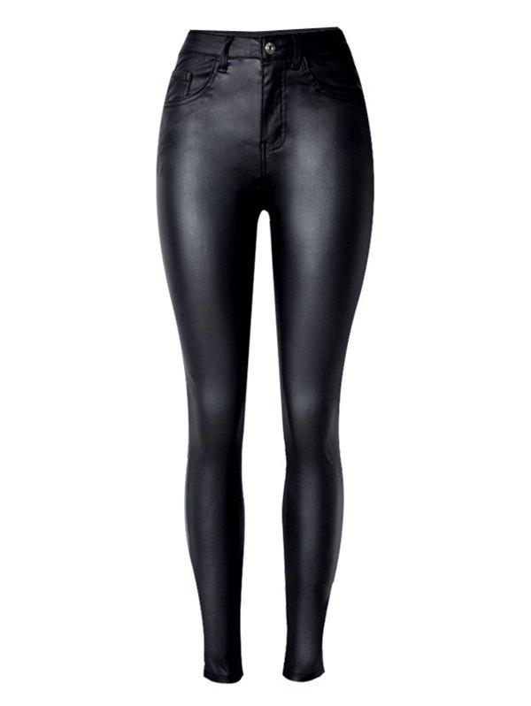 Cheap Stretchy  Faux Leather Ponte Pants