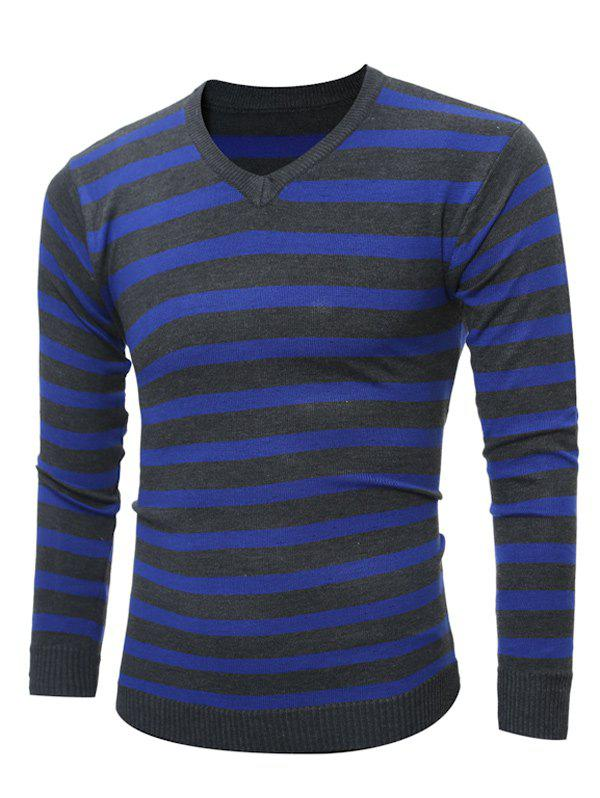 V Neck Striped Knitting SweaterMEN<br><br>Size: 2XL; Color: CADETBLUE; Type: Pullovers; Material: Cotton,Polyester; Sleeve Length: Full; Collar: V-Neck; Style: Fashion; Weight: 0.232kg; Package Contents: 1 x Sweater;