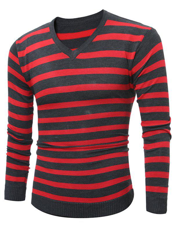 V Neck Striped Knitting SweaterMEN<br><br>Size: M; Color: RED; Type: Pullovers; Material: Cotton,Polyester; Sleeve Length: Full; Collar: V-Neck; Style: Fashion; Weight: 0.232kg; Package Contents: 1 x Sweater;