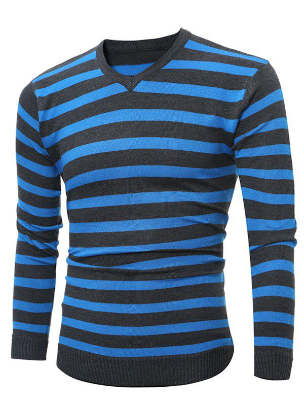Hot V Neck Striped Knitting Sweater