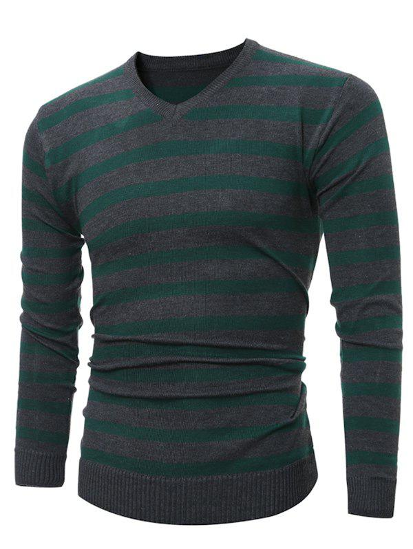 V Neck Striped Knitting SweaterMEN<br><br>Size: L; Color: GREEN; Type: Pullovers; Material: Cotton,Polyester; Sleeve Length: Full; Collar: V-Neck; Style: Fashion; Weight: 0.232kg; Package Contents: 1 x Sweater;