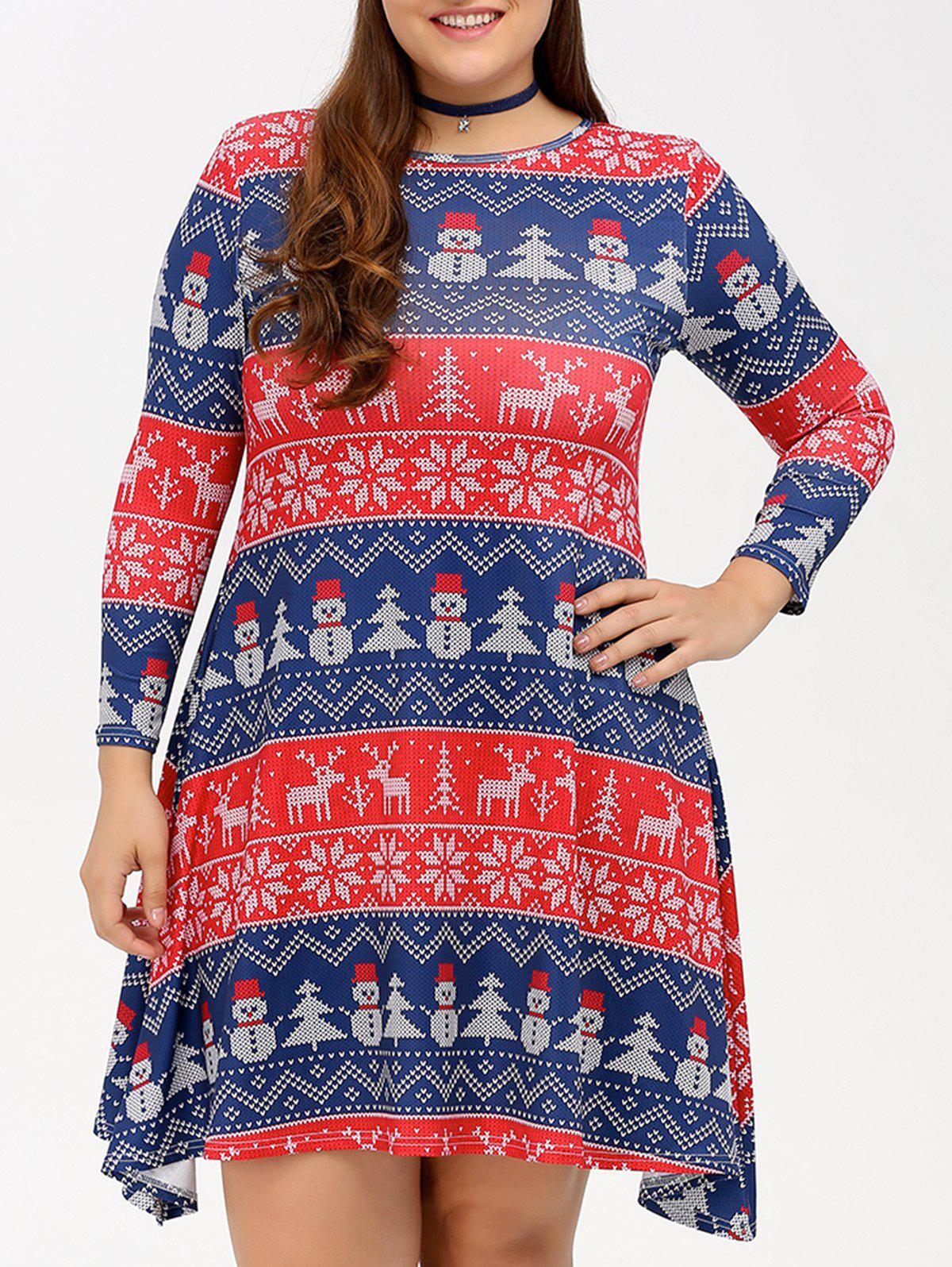 Outfit Christmas Snowman Print Swing Dress