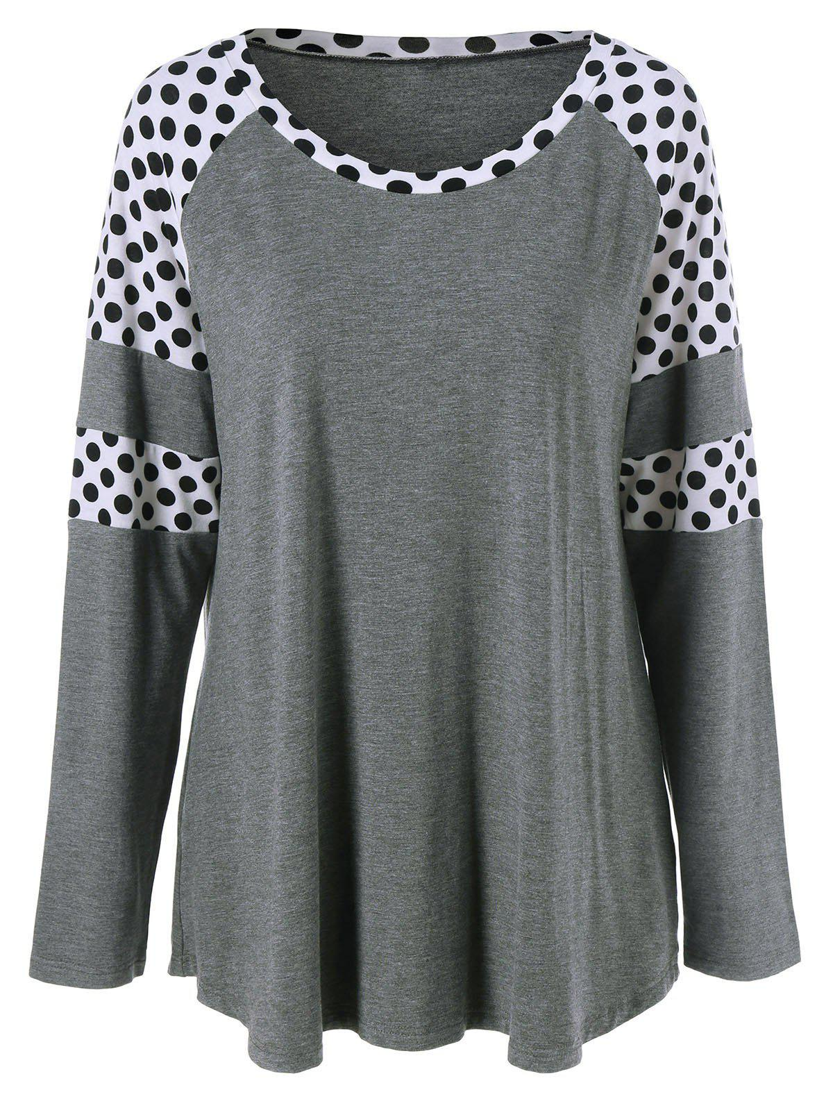 Plus Size Polka Dot Insert TeeWOMEN<br><br>Size: XL; Color: GREY AND WHITE; Material: Rayon,Spandex; Shirt Length: Regular; Sleeve Length: Full; Collar: Scoop Neck; Style: Casual; Season: Fall,Spring; Pattern Type: Polka Dot; Weight: 0.400kg; Package Contents: 1 x T-Shirt;