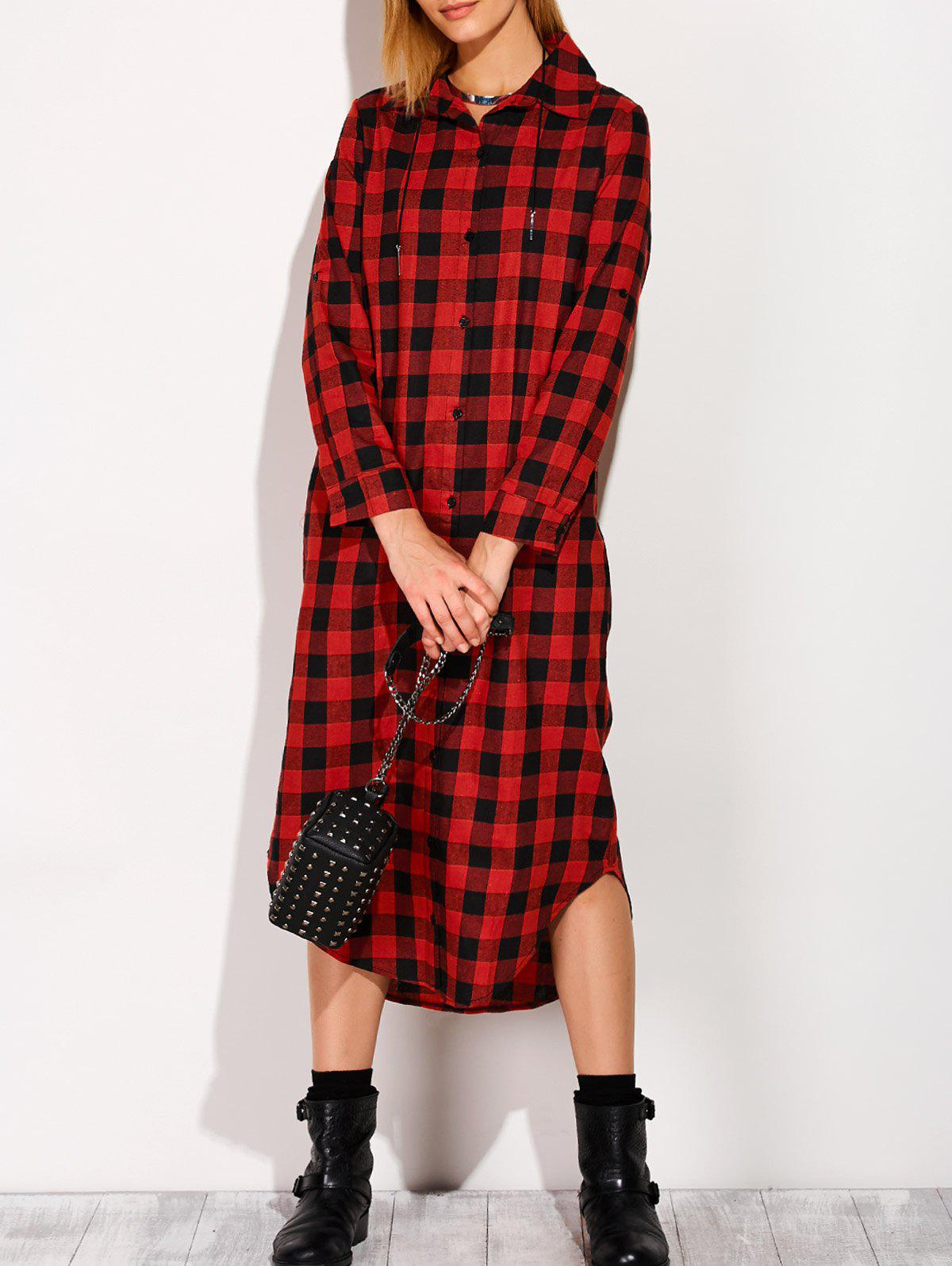 Sale Long Sleeve Button Down Plaid Midi Flannel Shirt Dress