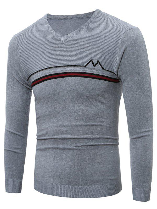 V Neck Striped Selvedge Embellished Knitting SweaterMEN<br><br>Size: M; Color: LIGHT GRAY; Type: Pullovers; Material: Cotton,Polyester; Sleeve Length: Full; Collar: V-Neck; Style: Fashion; Weight: 0.262kg; Package Contents: 1 x Sweater;