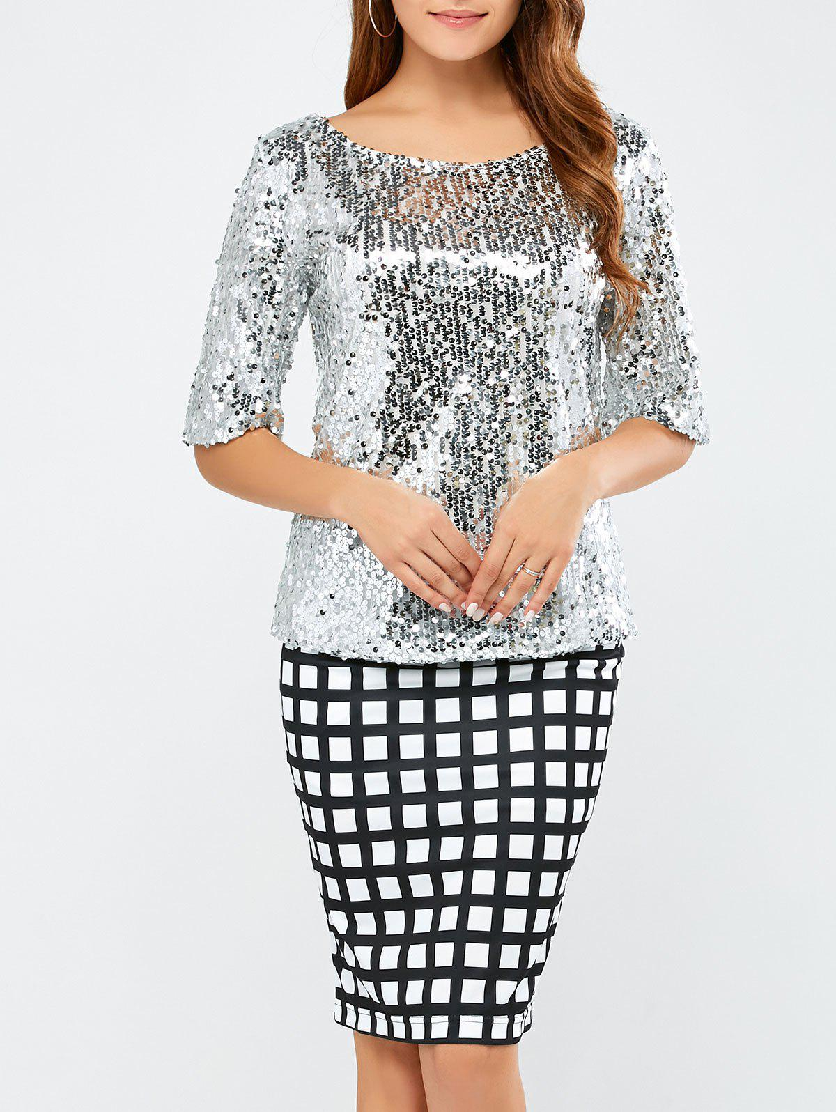 Sequined Short Sleeve Sparkly T-ShirtWOMEN<br><br>Size: L; Color: SILVER; Material: Polyester; Shirt Length: Regular; Sleeve Length: Short; Collar: Jewel Neck; Style: Streetwear; Season: Fall,Spring,Summer; Embellishment: Sequins; Pattern Type: Patchwork; Weight: 0.370kg; Package Contents: 1 x T-Shirt;