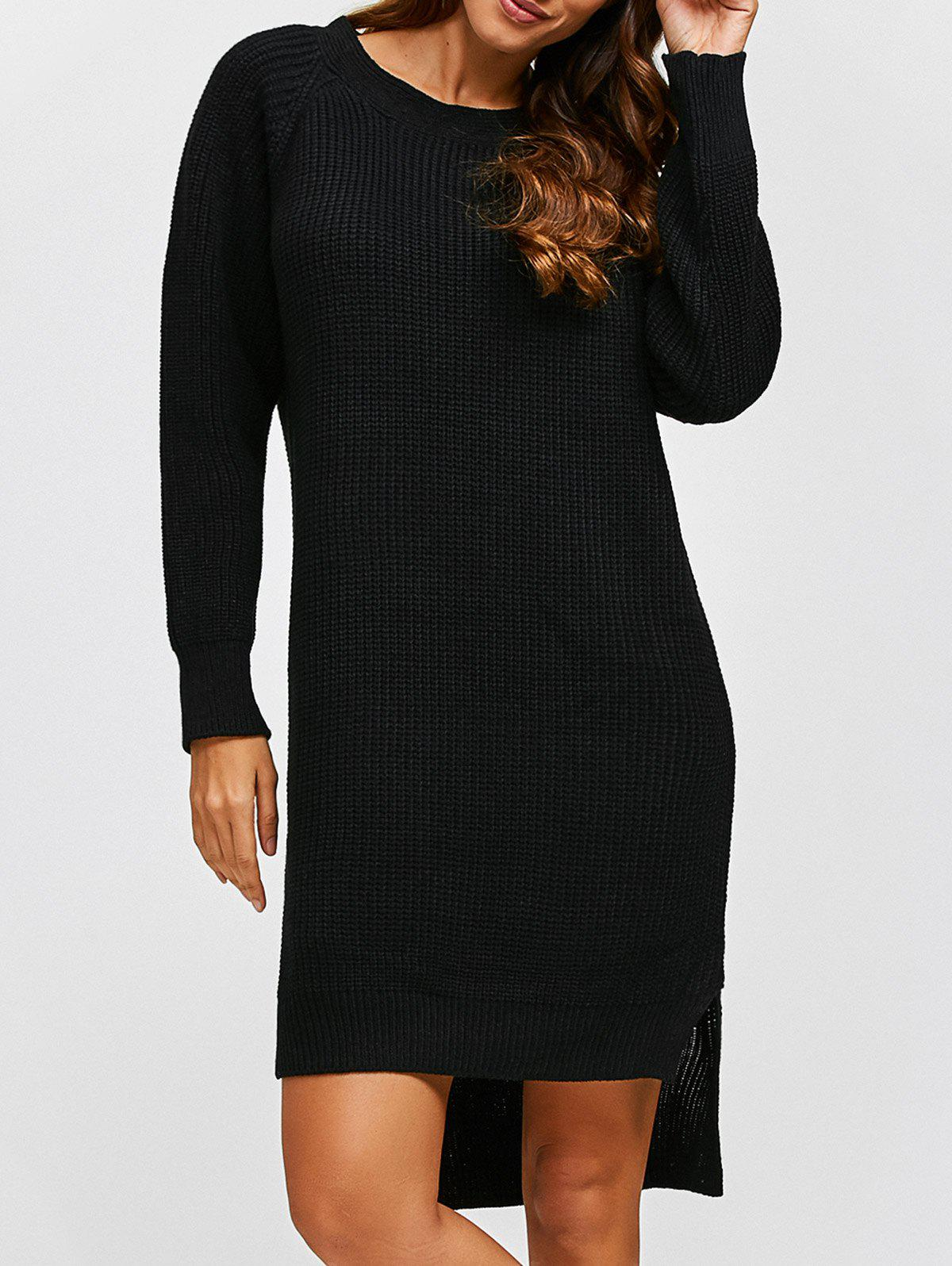 Store High Low Long Sleeve Sweater Dress