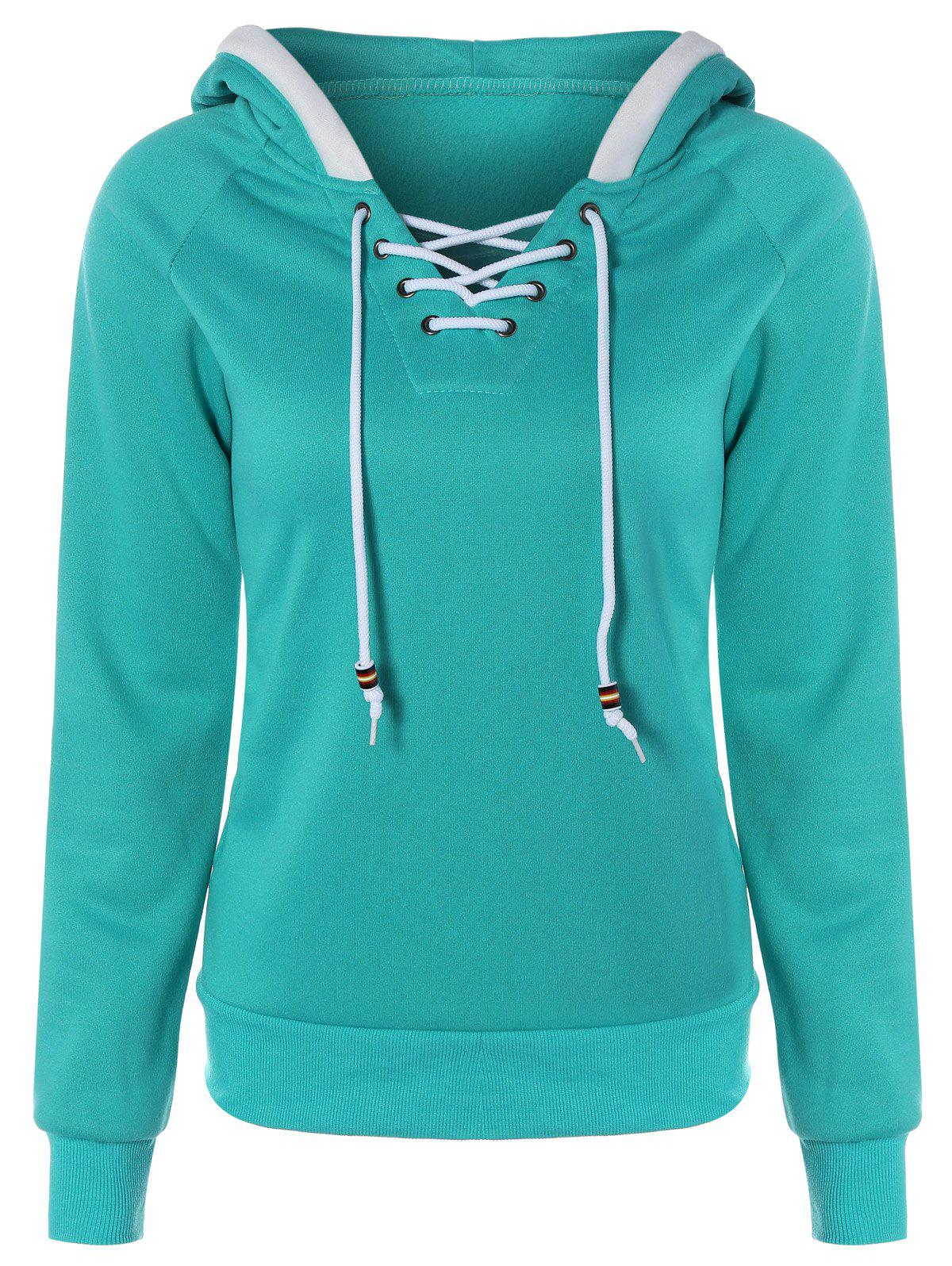 Chic Lace Up Contrast Hoodie