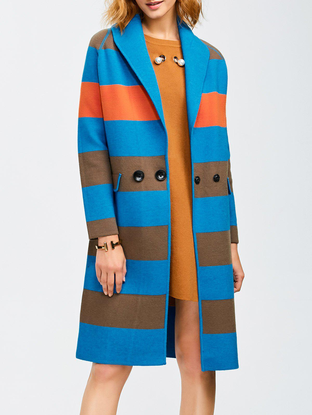 New Shawl Collar Coat With Color Block Design