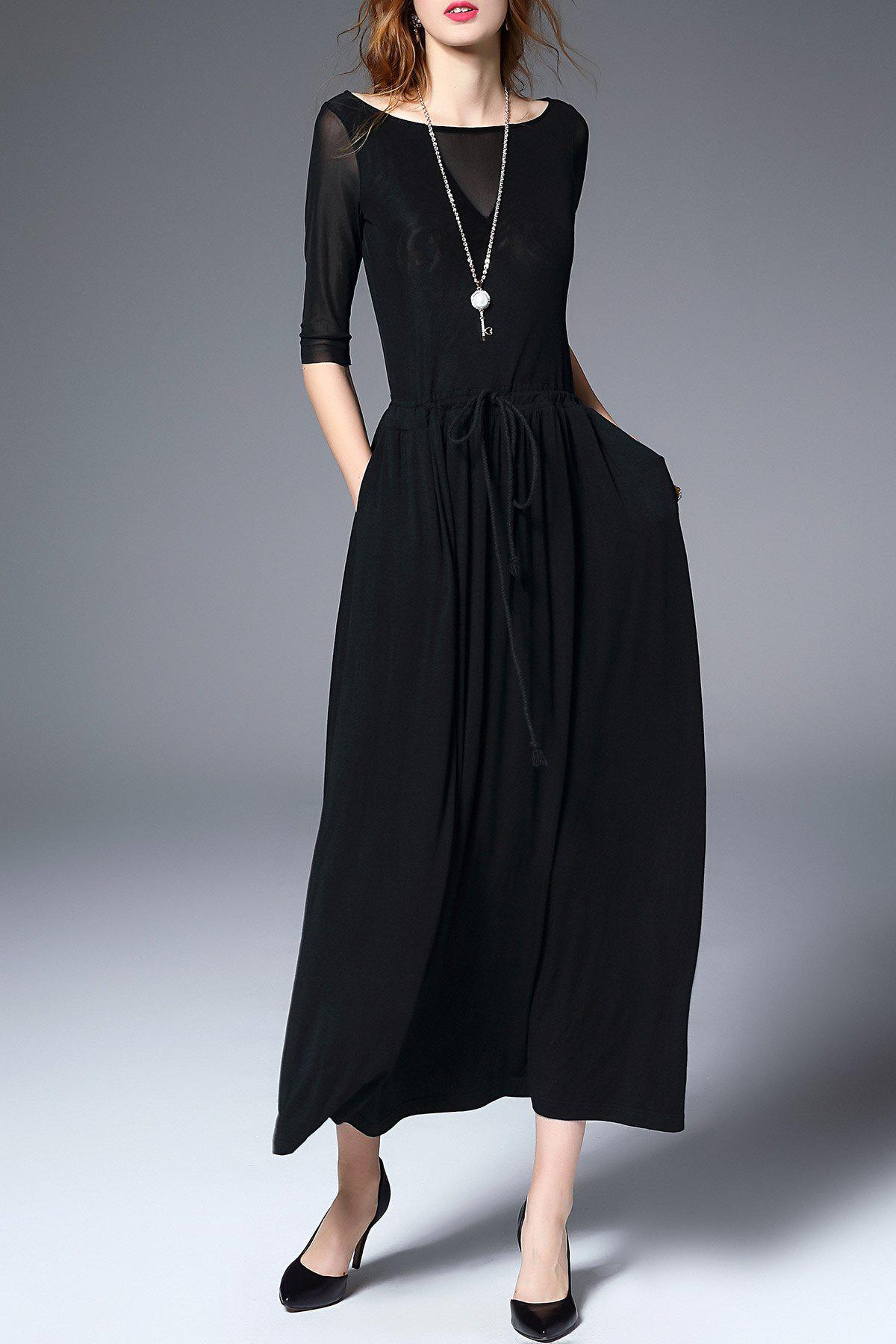 Cheap Boat Neck Maxi A Line Dress