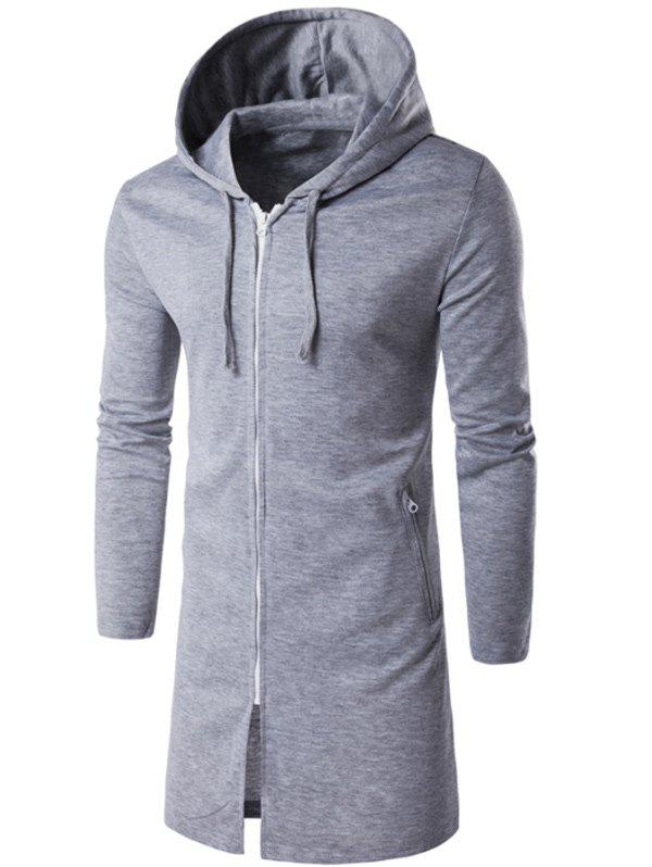 Outfits Hooded Longline Zip Up Hoodie
