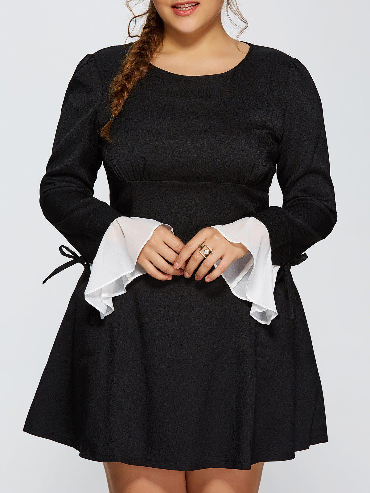 Outfits Plus Size Chiffon Cuff Insert Long Sleeve Empire Waist Skater Dress