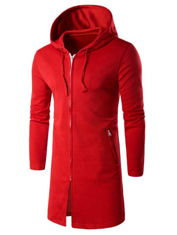 Chic Hooded Longline Zip Up Hoodie