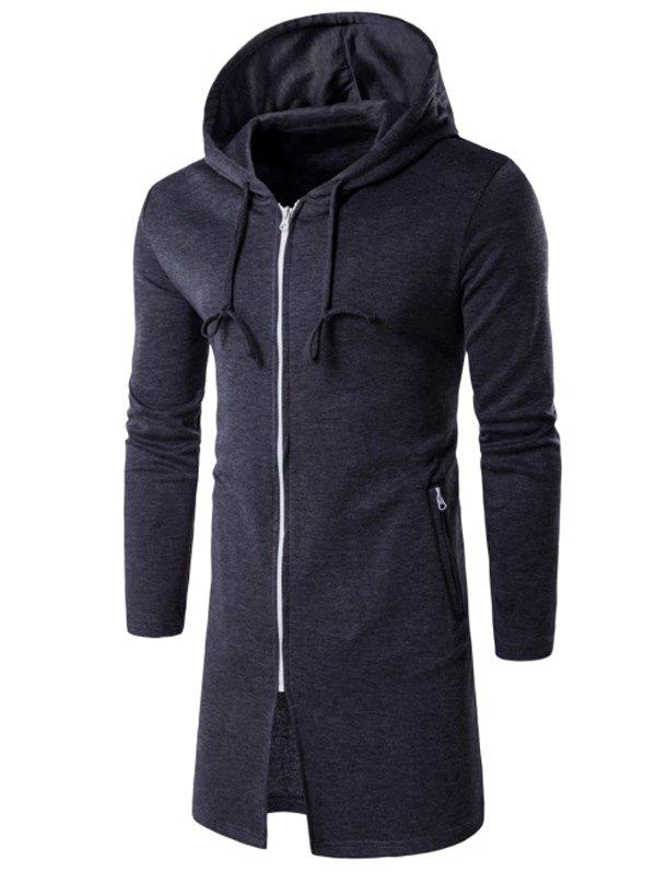 New Hooded Longline Zip Up Hoodie