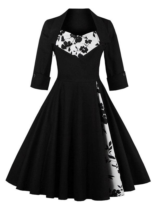 Knee Length Floral Flare Corset DressWOMEN<br><br>Size: 2XL; Color: BLACK; Style: Vintage; Material: Polyester; Silhouette: A-Line; Dresses Length: Knee-Length; Neckline: Sweetheart Neck; Sleeve Length: Half Sleeves; Embellishment: Flowers; Pattern Type: Patchwork; With Belt: No; Season: Fall,Spring,Summer; Weight: 0.3610kg; Package Contents: 1 x Dress;