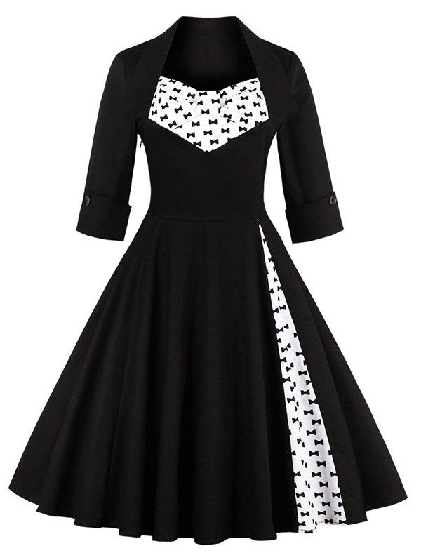 Bowknot Swing Dress Vintage Prom DressesWOMEN<br><br>Size: 4XL; Color: BLACK; Style: Vintage; Material: Polyester; Silhouette: A-Line; Dresses Length: Knee-Length; Neckline: Sweetheart Neck; Sleeve Length: Half Sleeves; Embellishment: Bowknot; Pattern Type: Patchwork; With Belt: No; Season: Fall,Spring,Summer; Weight: 0.3700kg; Package Contents: 1 x Dress;