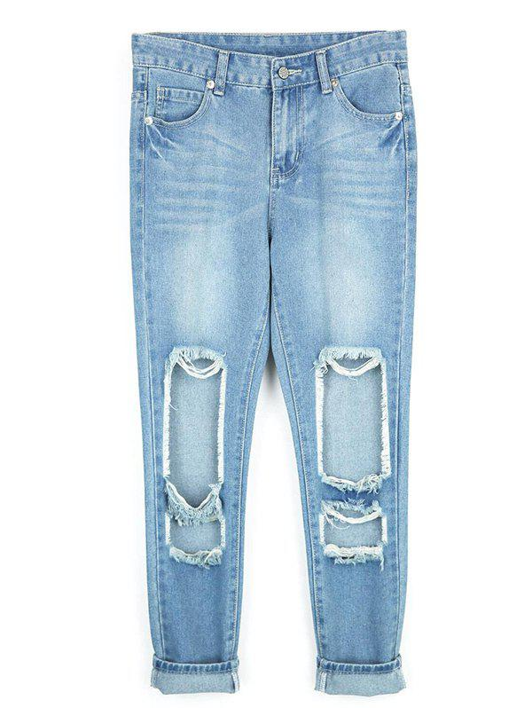 Fancy Destroyed Ripped  Pencil Jeans