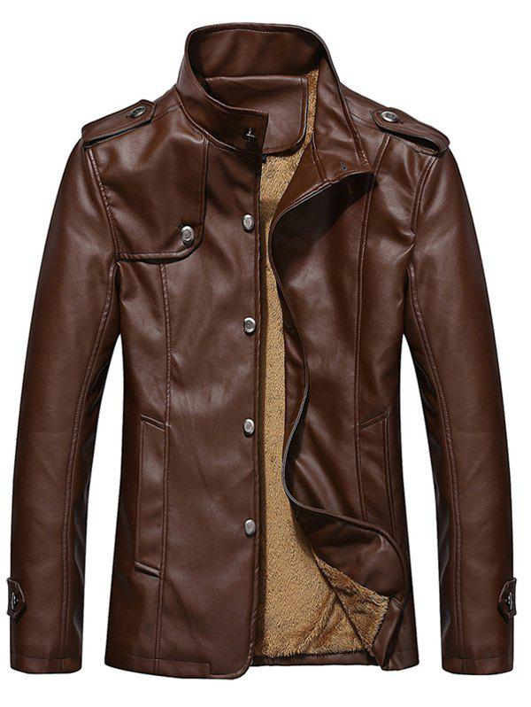 Hot Stand Collar Button Up Epaulet PU Leather Jacket