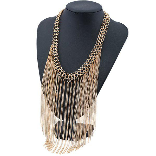 Geometric Tassel Chains NecklaceJEWELRY<br><br>Color: GOLDEN; Item Type: Chokers Necklace; Gender: For Women; Style: Trendy; Shape/Pattern: Geometric; Weight: 0.150kg; Package Contents: 1 x Necklace;