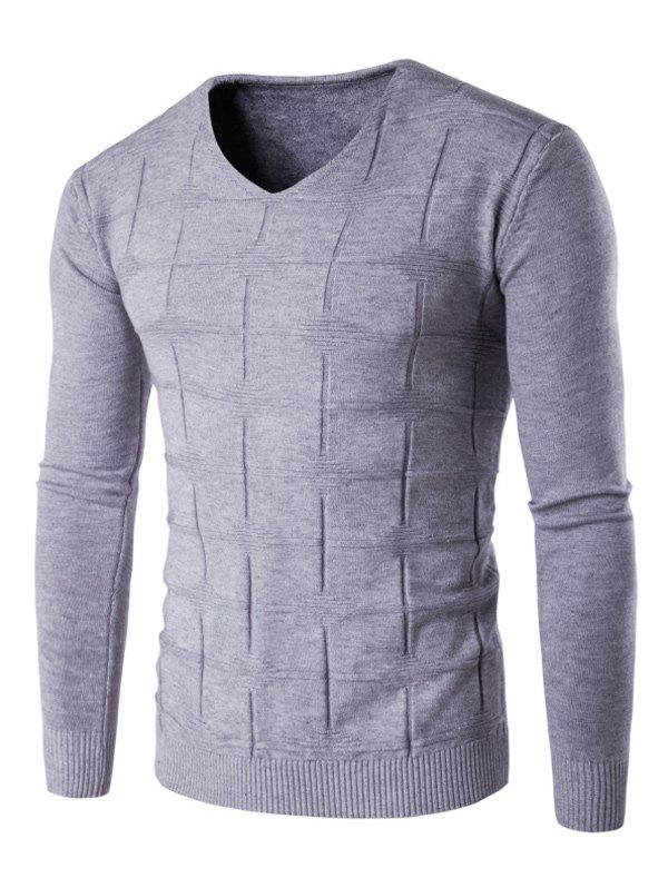 Trendy V Neck Checked Graphic Knitting Sweater