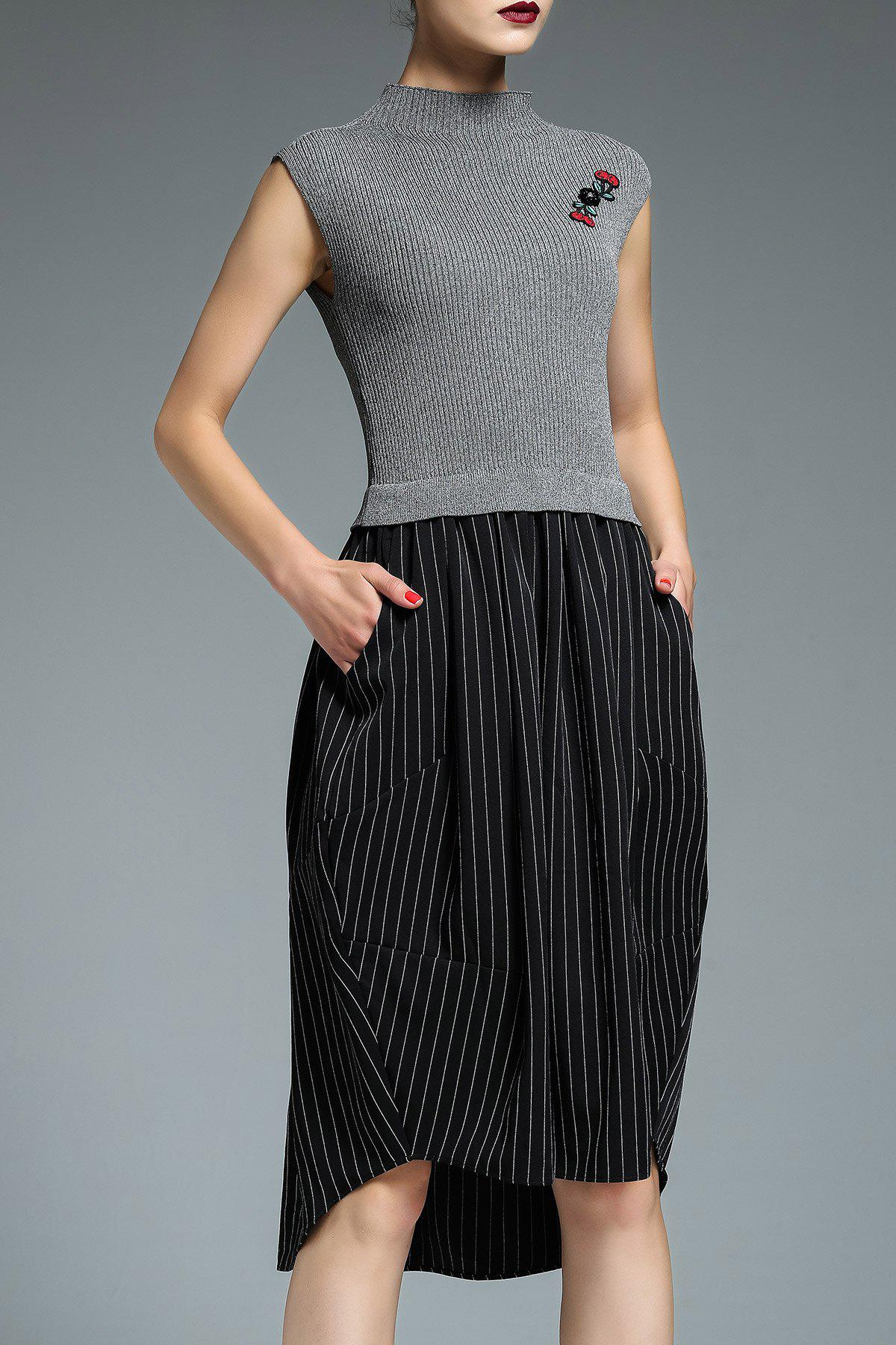 Trendy Asymmetric Hem Striped Insert Knitted Dress