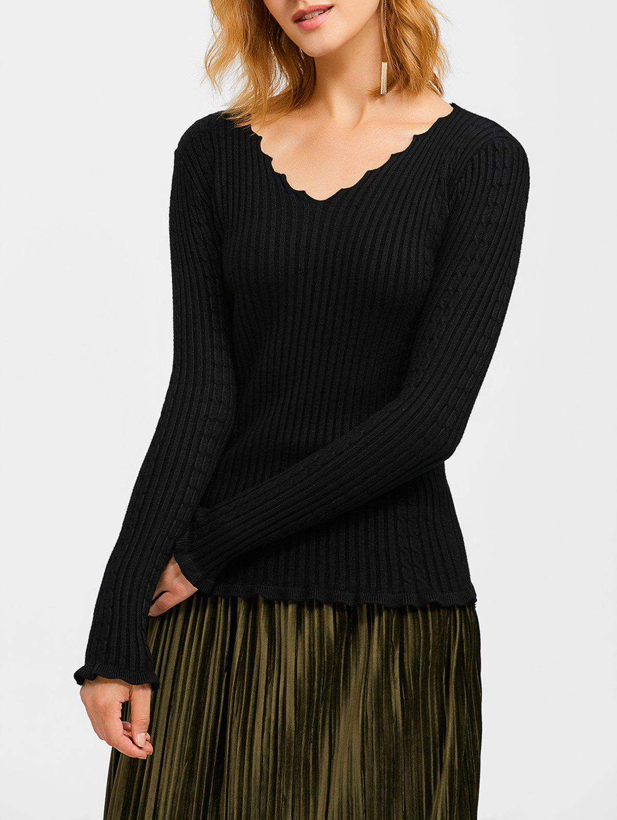 Flounce Ribbed V Neck SweaterWOMEN<br><br>Size: ONE SIZE; Color: BLACK; Type: Pullovers; Material: Polyester; Sleeve Length: Full; Collar: V-Neck; Style: Fashion; Pattern Type: Solid; Season: Fall,Spring,Winter; Weight: 0.370kg; Package Contents: 1 x Sweater;