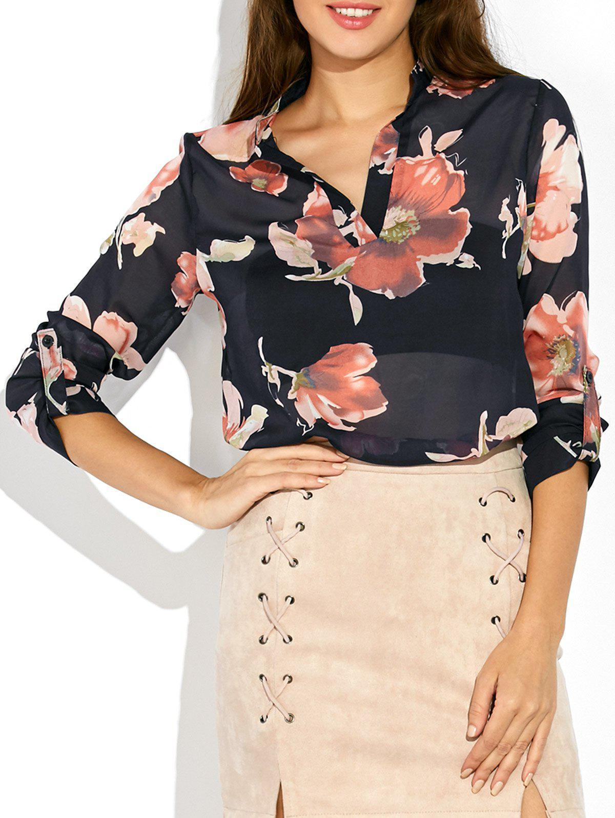 Chic Floral Print High Low Blouse