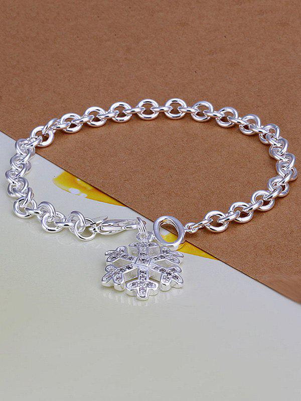 Snowflake Christmas Charm BraceletJEWELRY<br><br>Color: SILVER; Item Type: Charm Bracelet; Gender: For Women; Chain Type: Link Chain; Style: Trendy; Shape/Pattern: Others; Length: 20CM; Weight: 0.040kg; Package Contents: 1 x Bracelet;