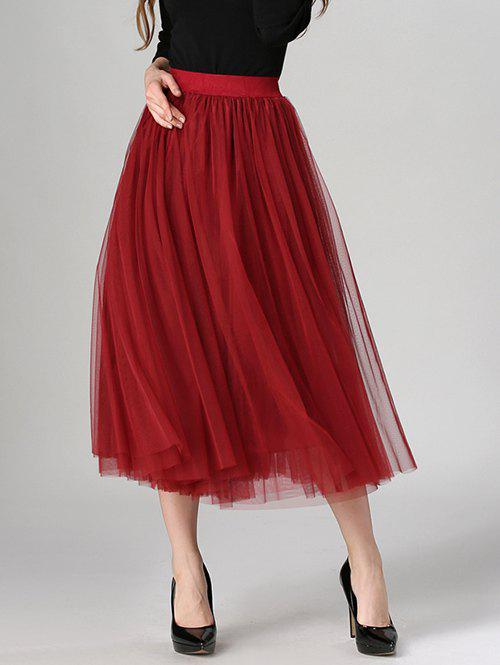 Tulle High Waist Midi SkirtWOMEN<br><br>Size: ONE SIZE; Color: WINE RED; Material: Polyester; Length: Mid-Calf; Silhouette: A-Line; Pattern Type: Solid; Season: Fall,Spring,Summer; With Belt: No; Weight: 0.370kg; Package Contents: 1 x Skirt;