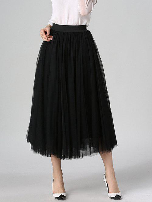 Unique Tulle High Waist Midi Skirt